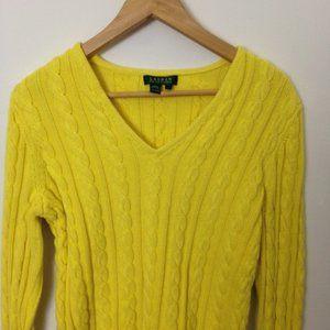 Lauren Ralph Lauren Yellow Cotton L Cable Sweater